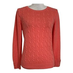 Talbots sweater pullover crew neck button sleeve